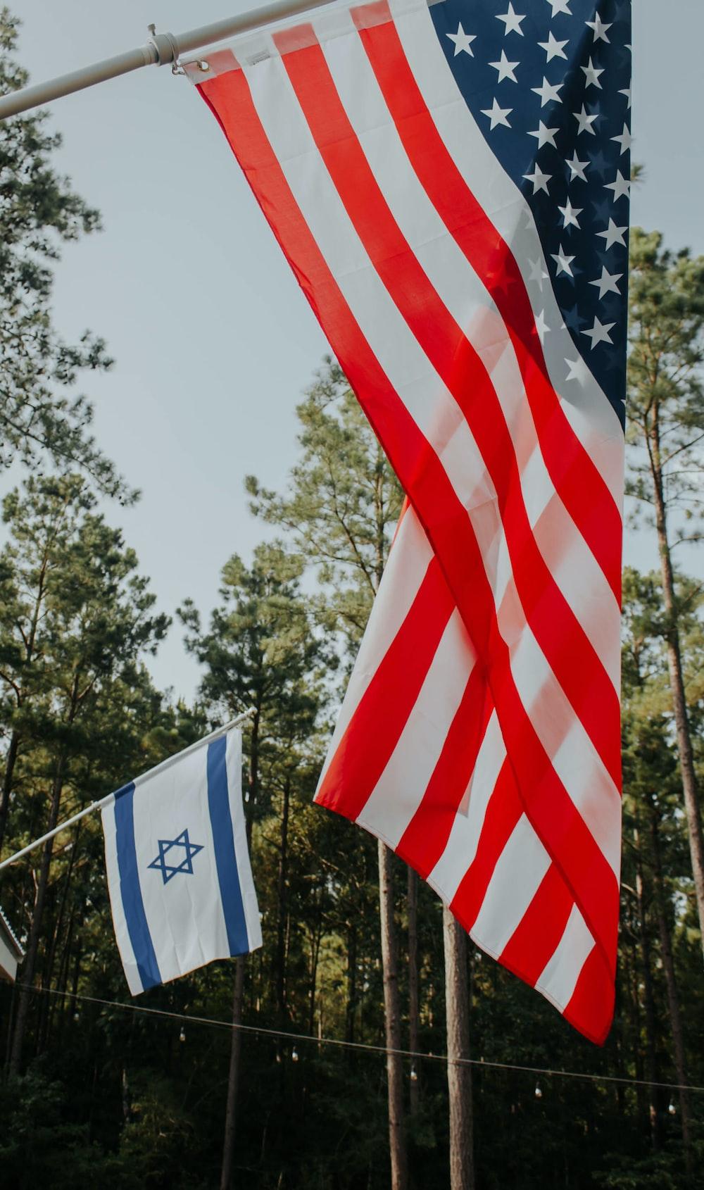 American Flag on gray pole