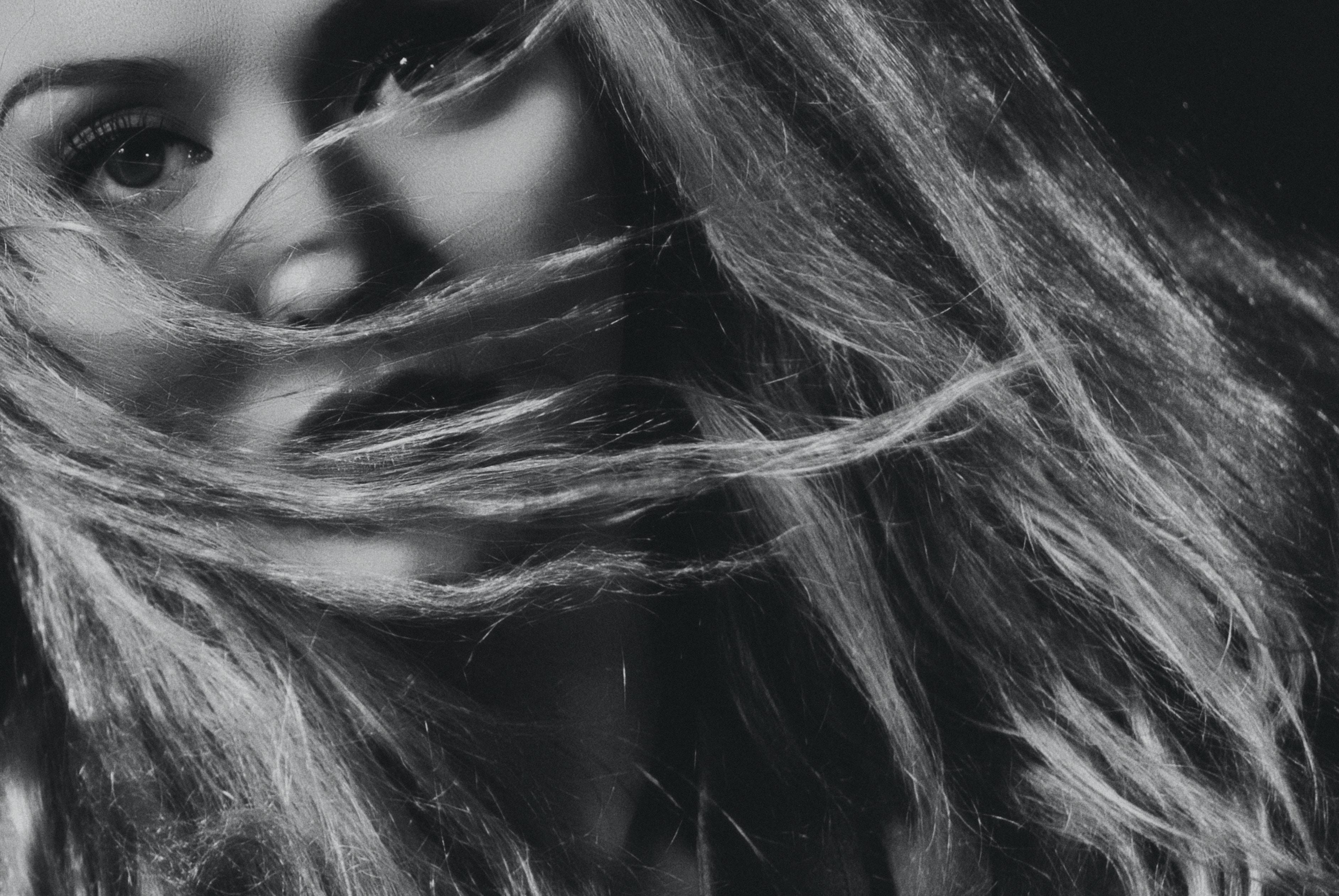 grayscale photo of woman portrait