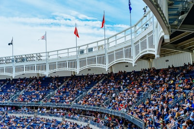 white and beige sports stadium yankees zoom background