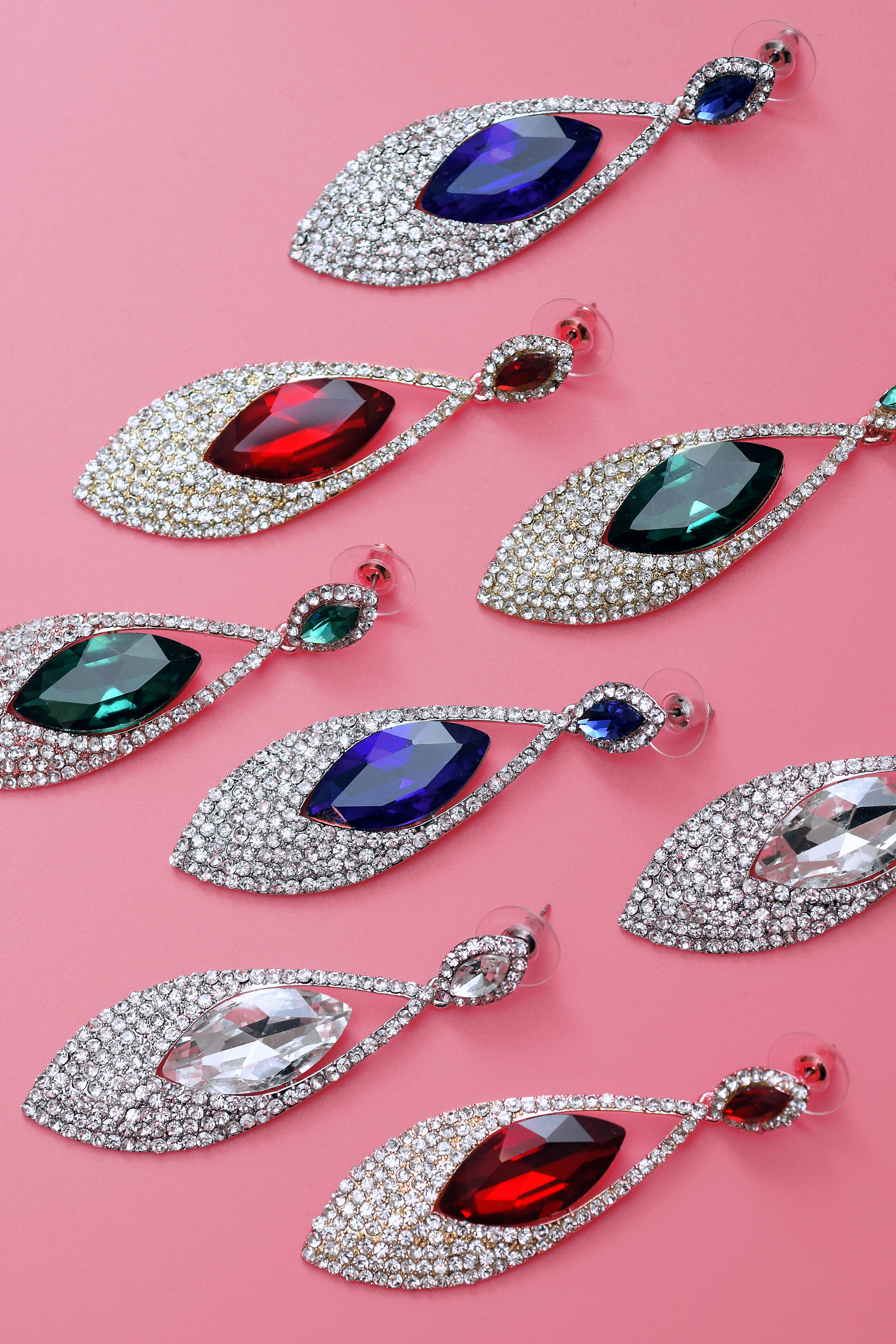 eight silver-colored teardrop earrings with assorted-color gemstones