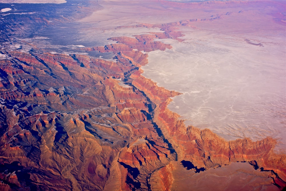birds eye view of canyons