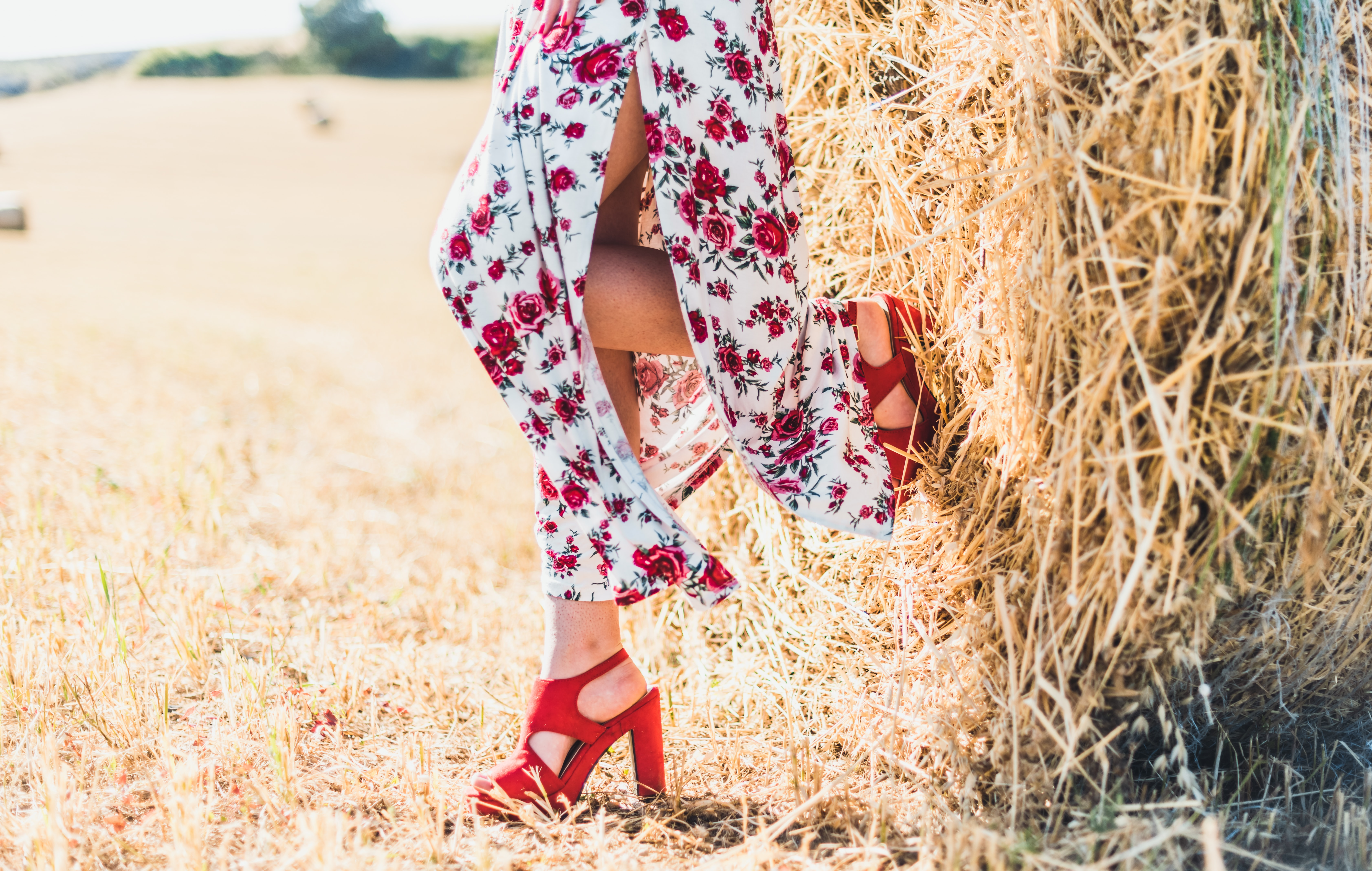 woman standing on hay