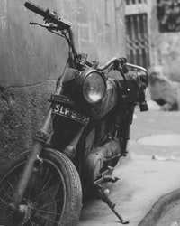 grayscale photography of standard motorcycle
