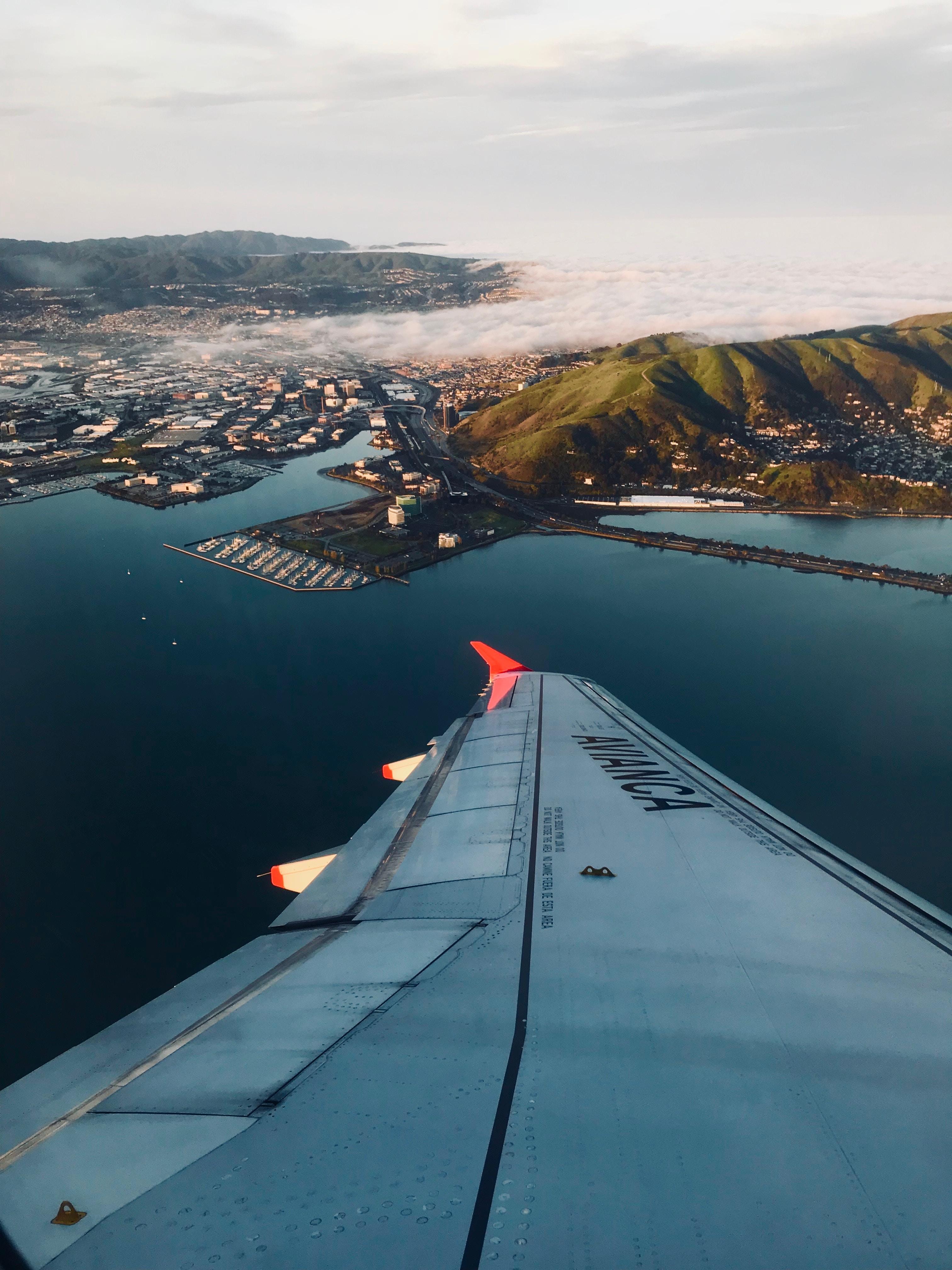 view of island on plane window
