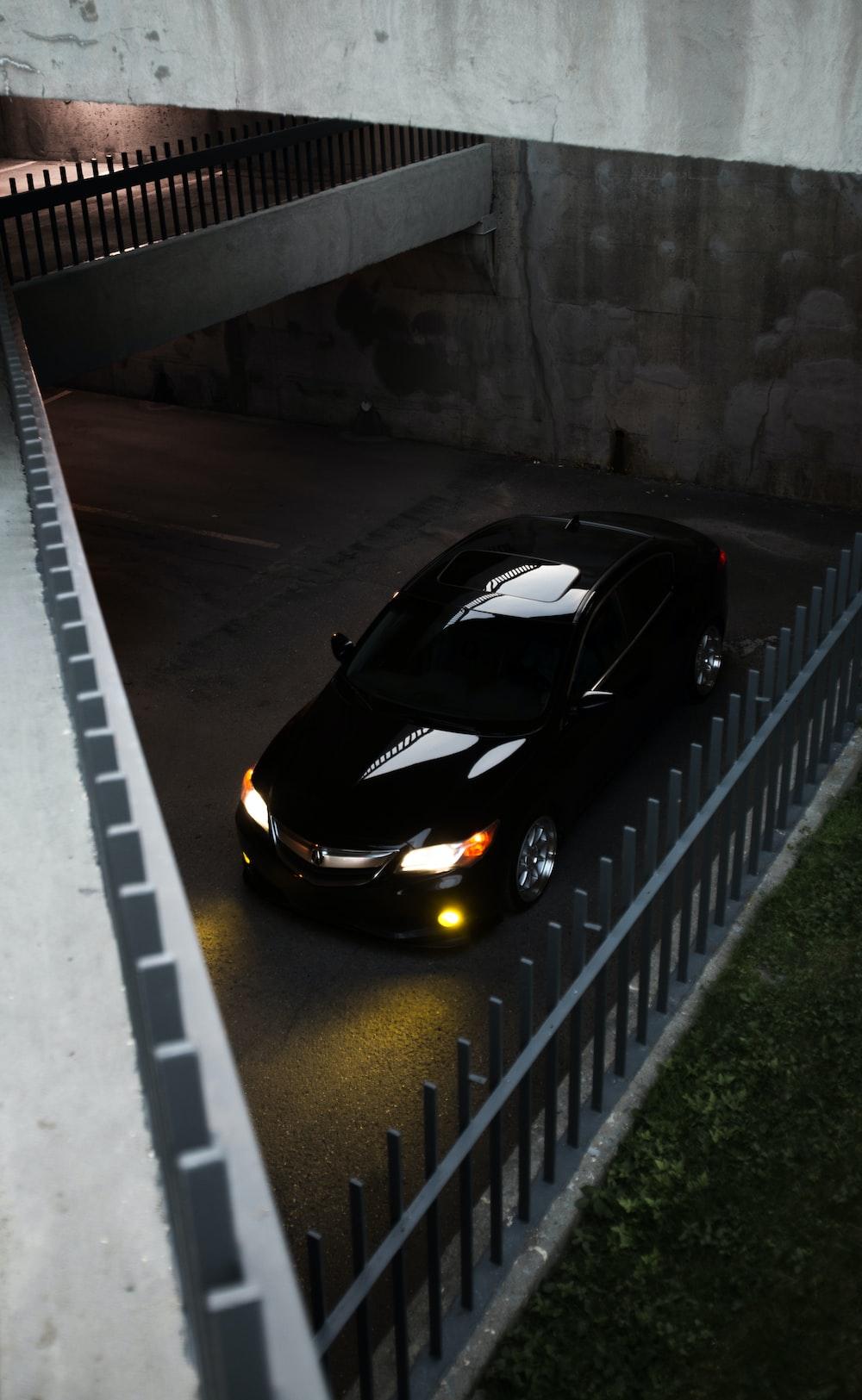 black car parked on parking lot