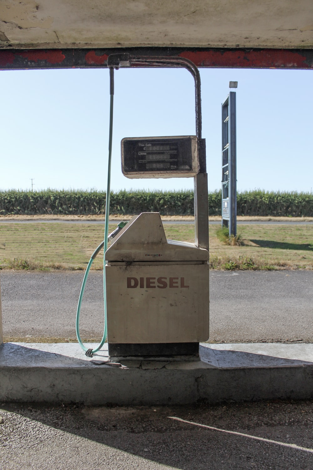 white Diesel gas pump station