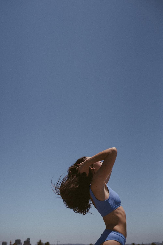 woman wearing blue bikini