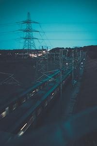 gray steel train track