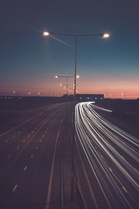timelapse photography of road with street lights
