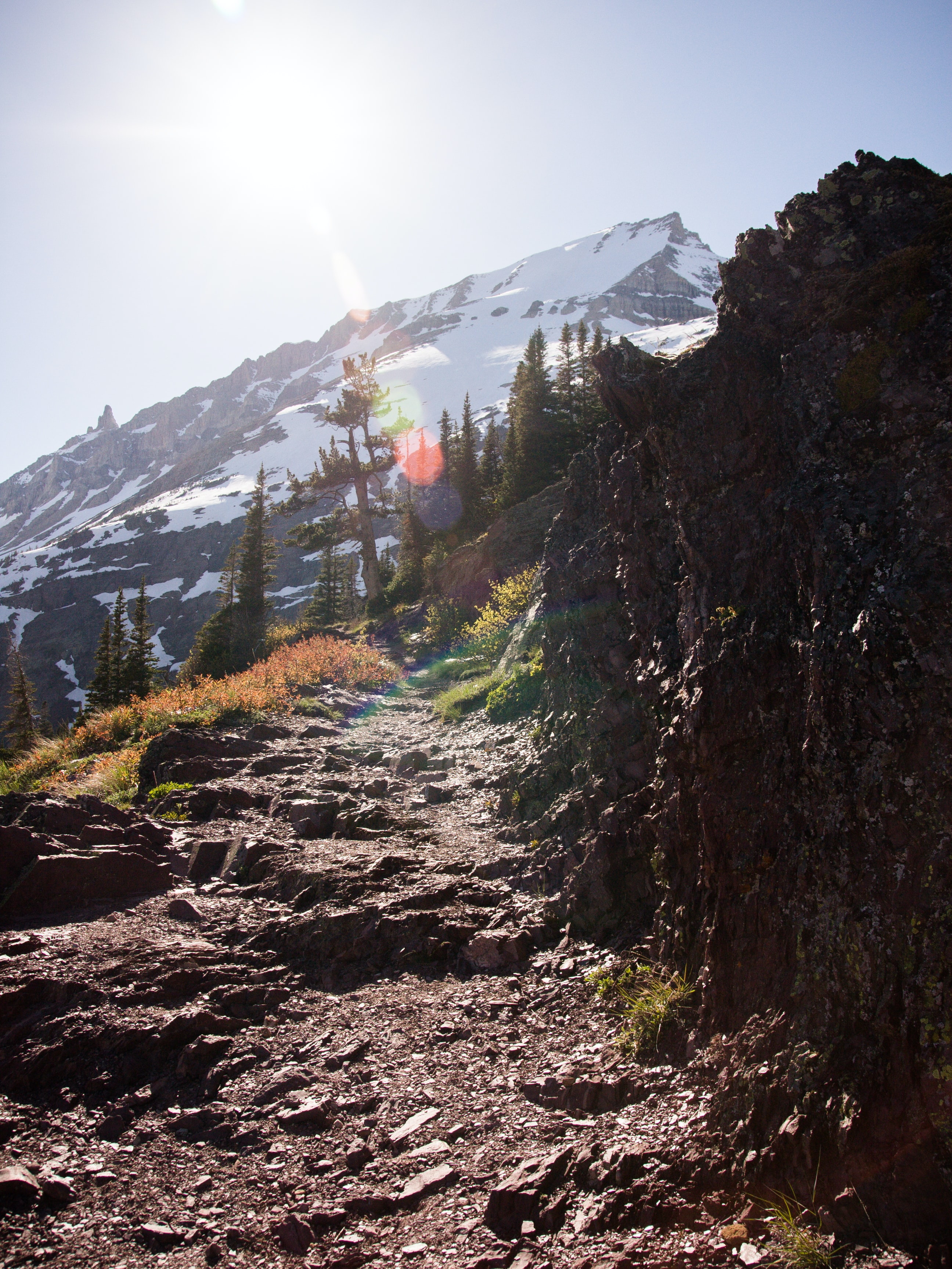 rock mountain trail towards alps