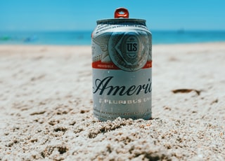 America can on brown sand near body of water