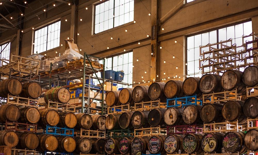 piled wooden barrels