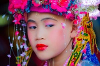 girl wearing beaded headdress