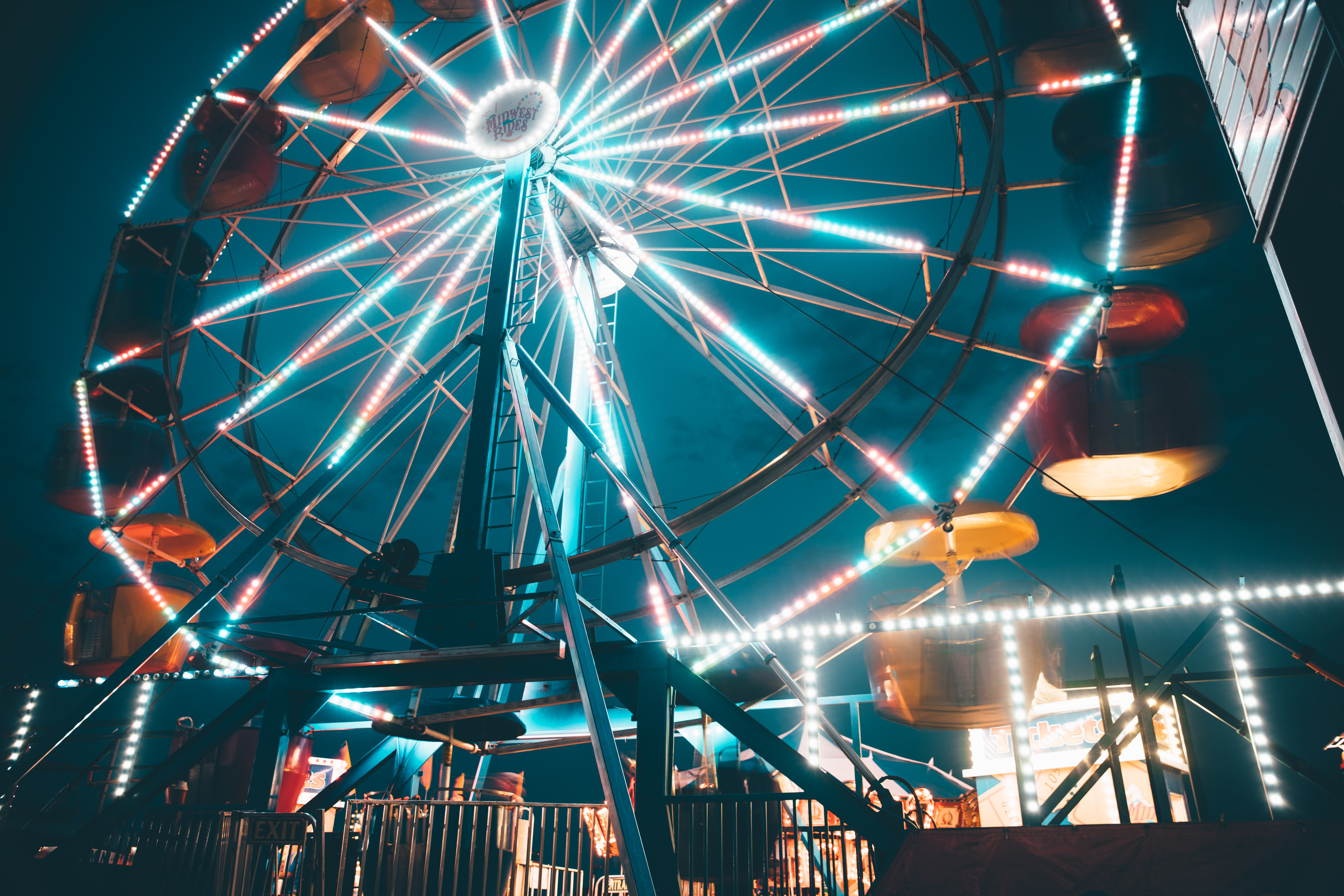 ferris wheel with blue and white lights