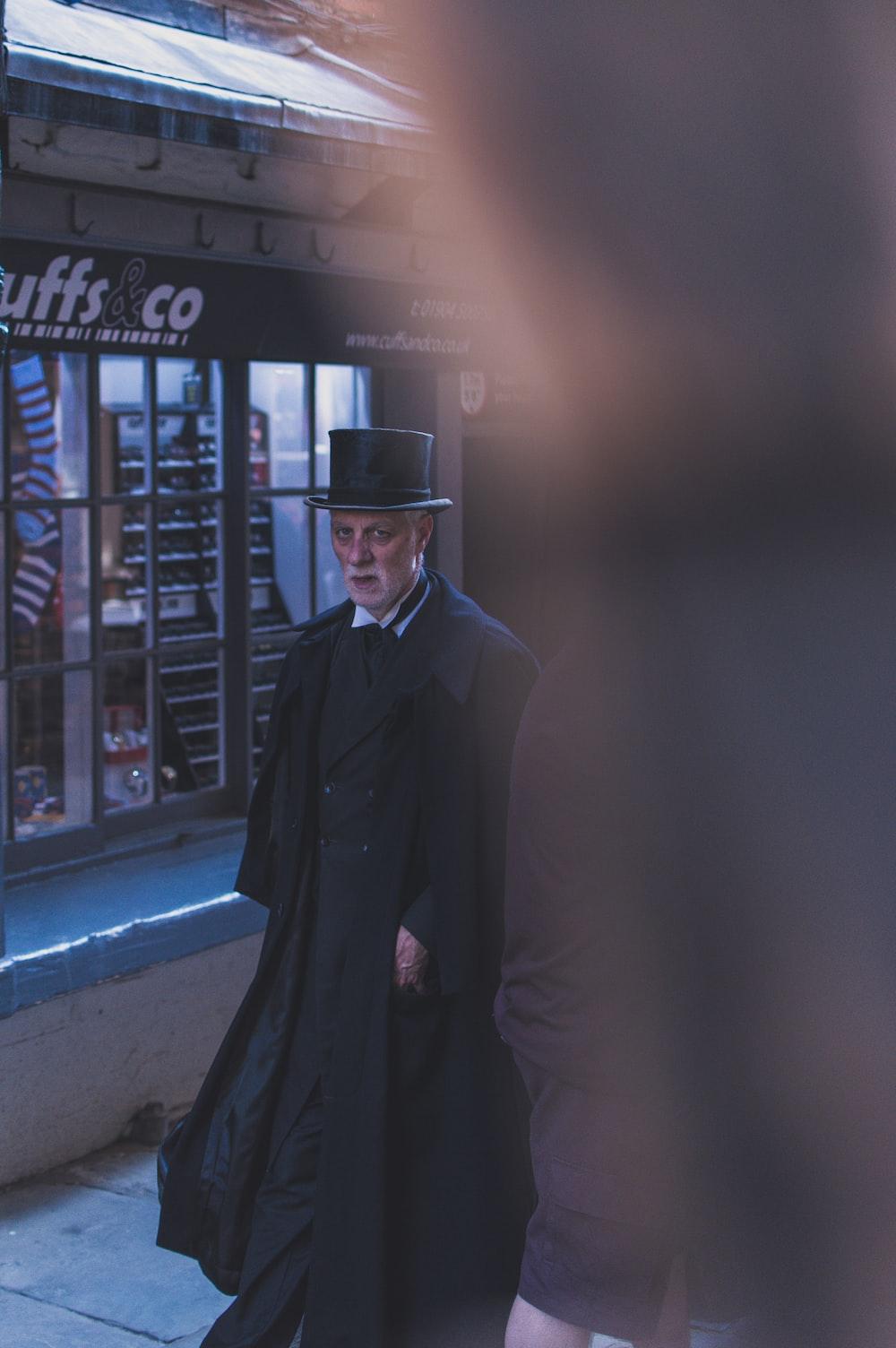 man walking outside the store