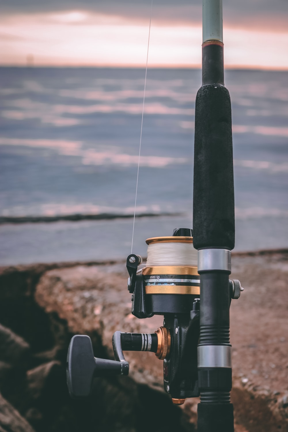 black and gold fishing rod near water