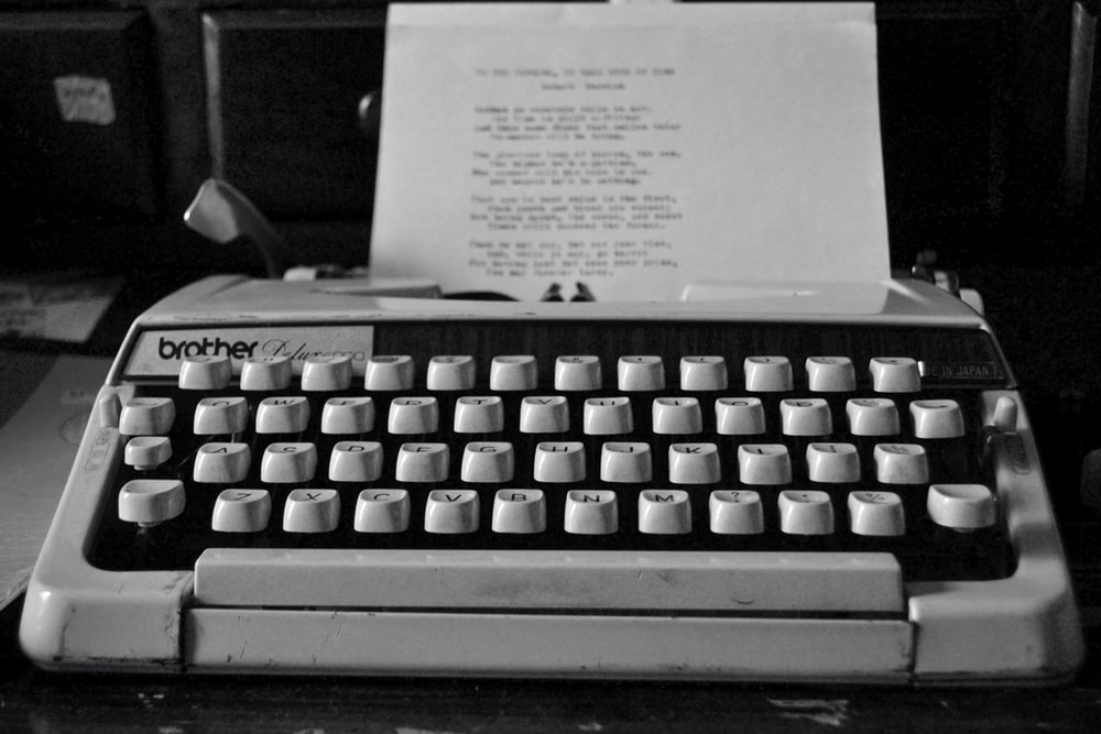 grayscale photography of Brother typewriter