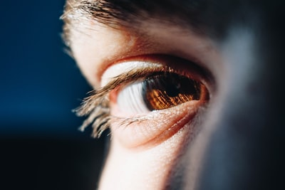 person's right eye human zoom background