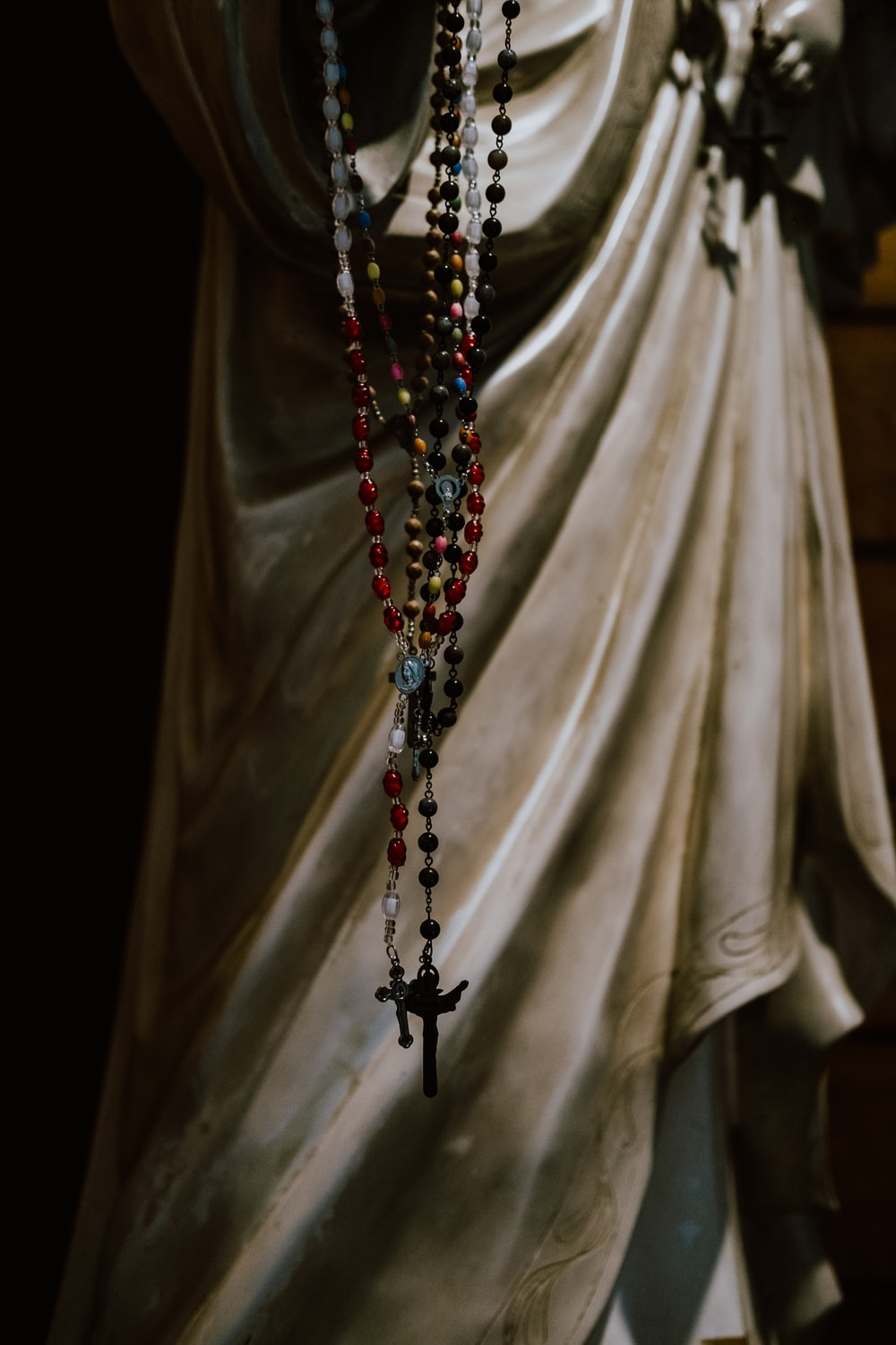 beaded red and black rosary