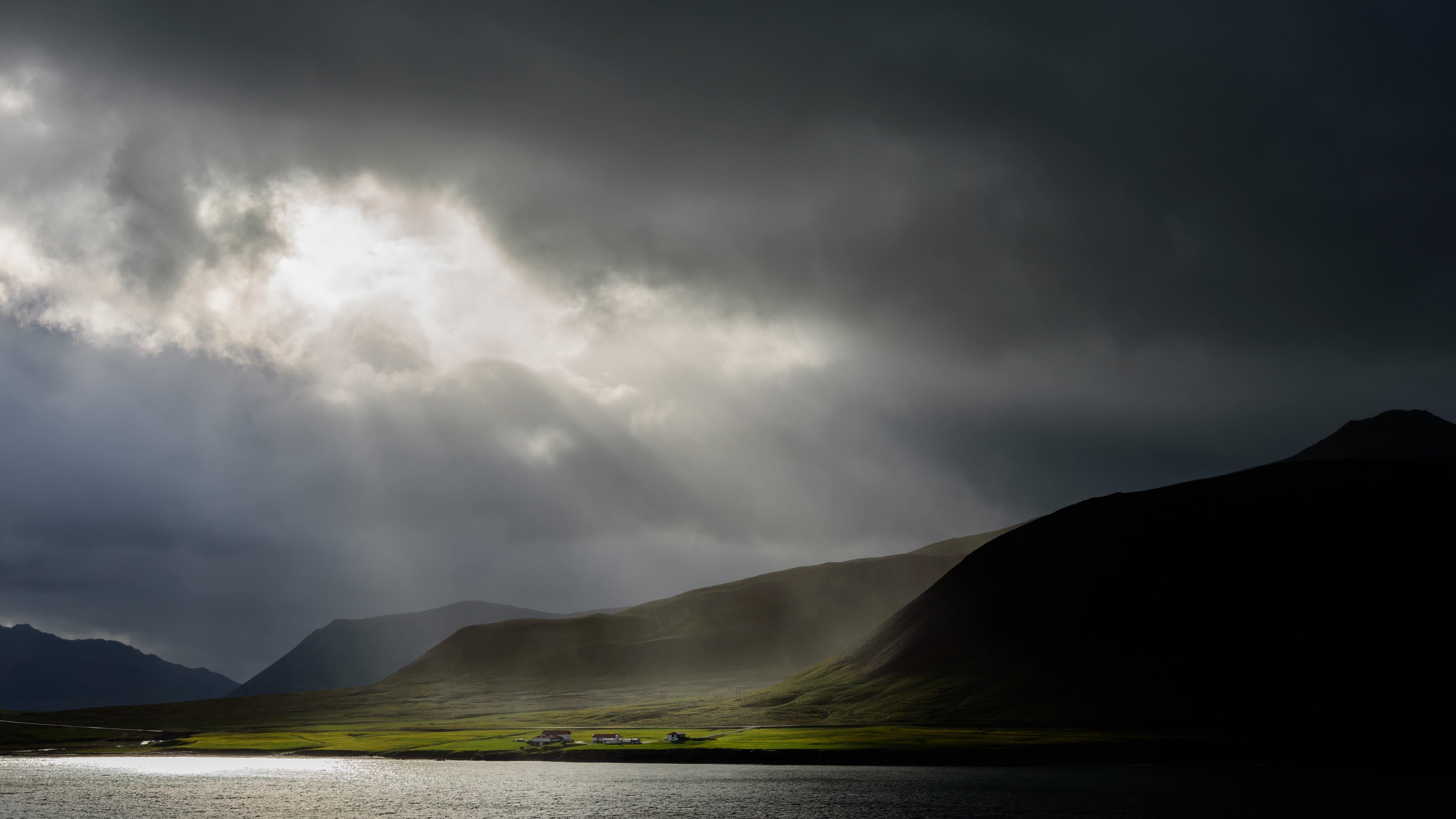 sunlight passing gray cloudy sky
