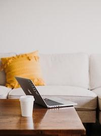 MacBook on coffee table