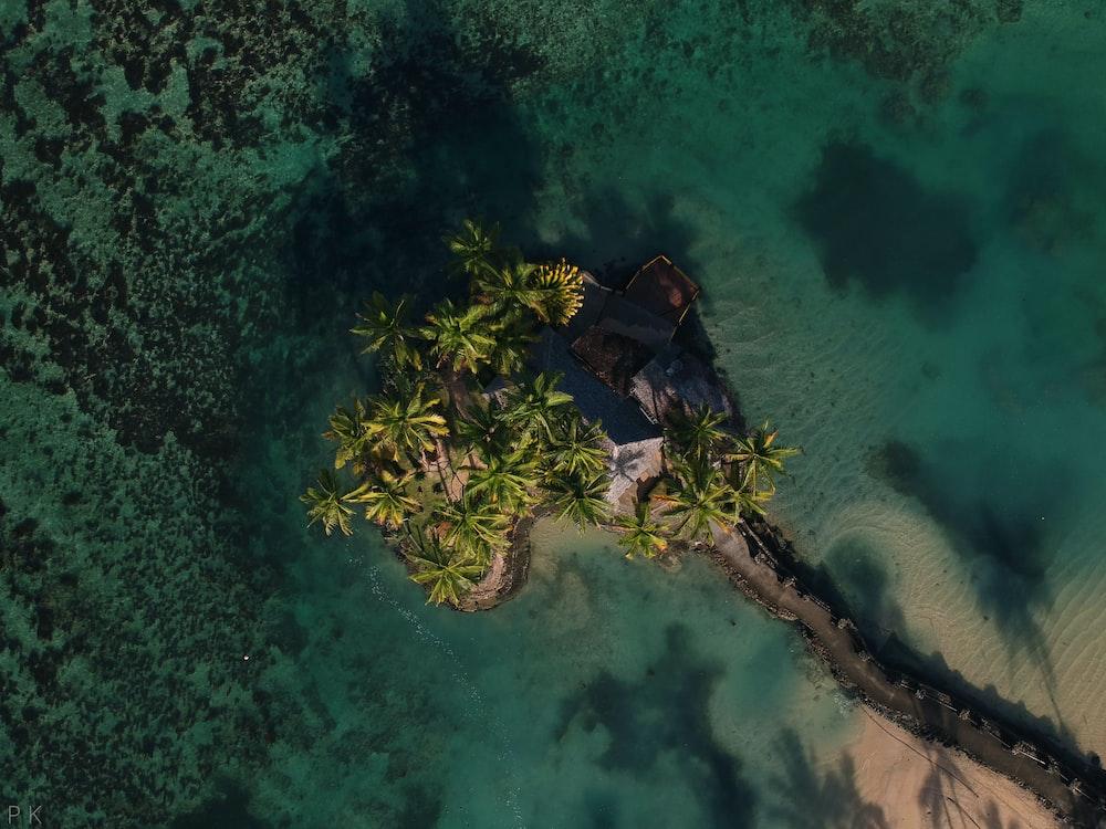 bird's-eye view of island