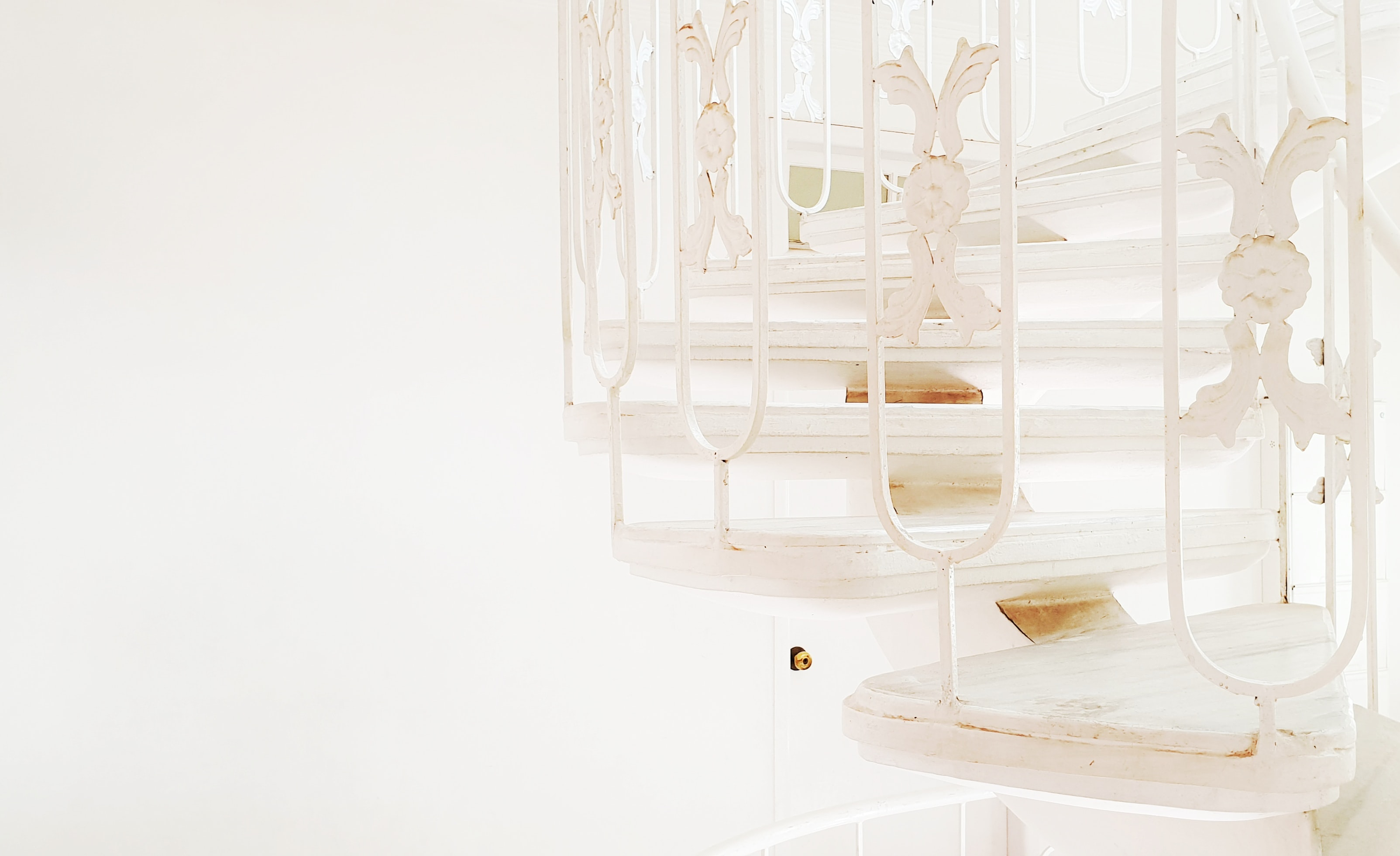 white spiral stair with white background