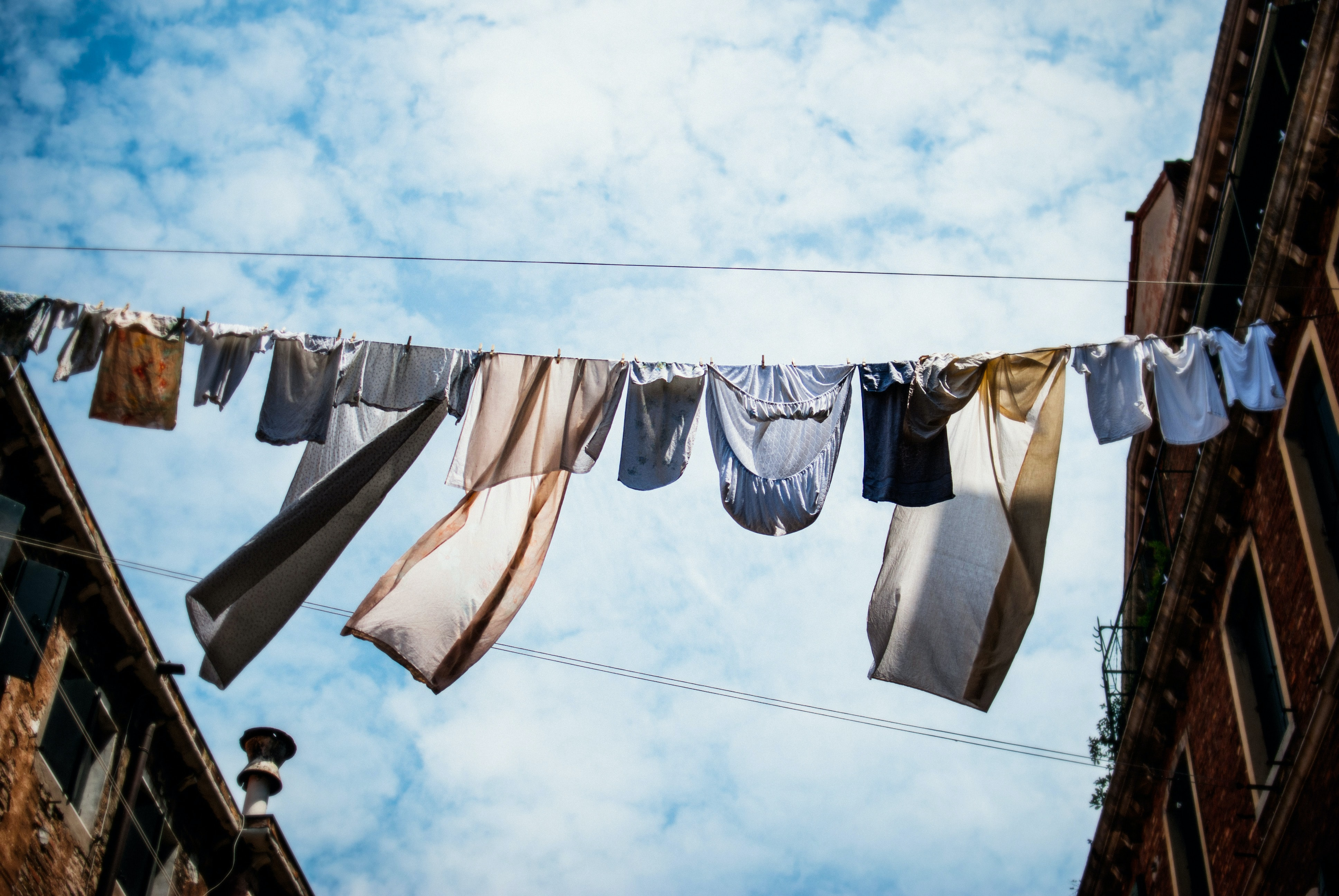clothes hanged on rope