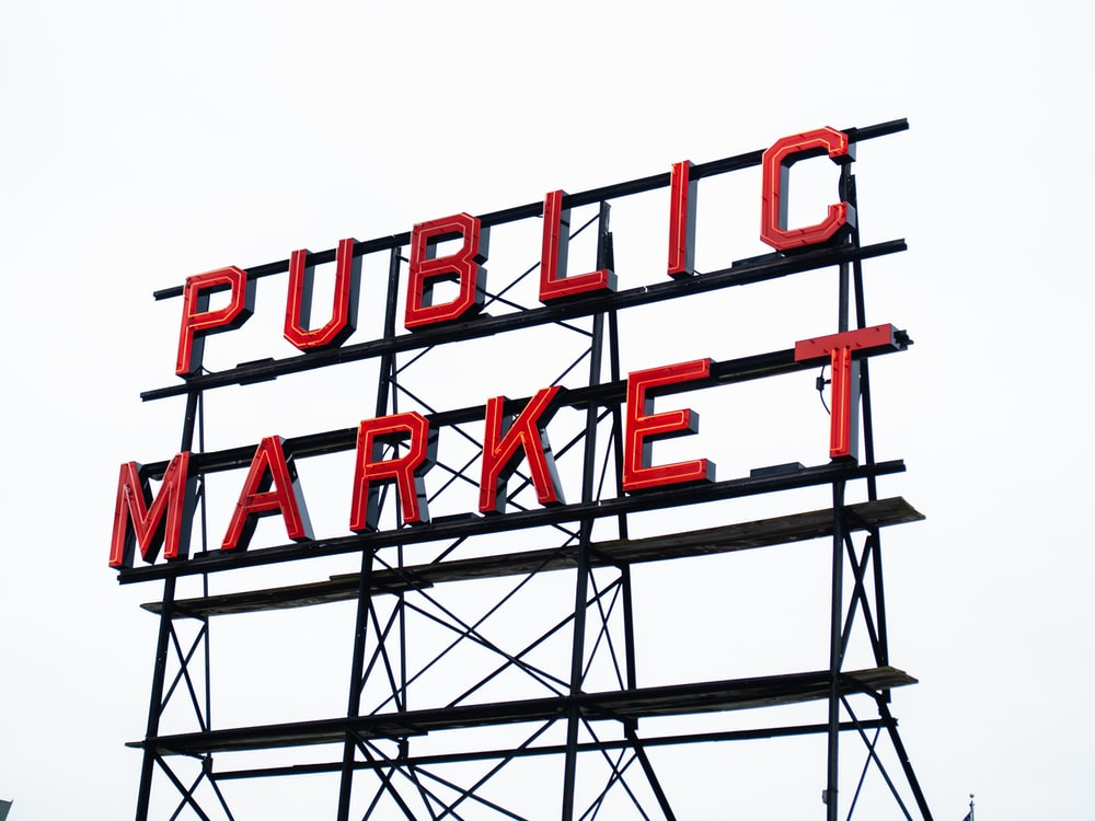 red and black Public Market signboard