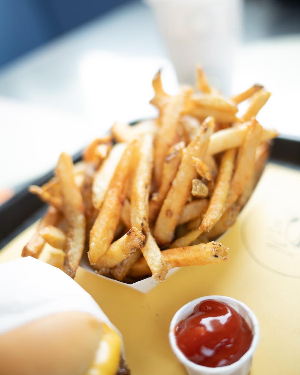 potato fries with tomato sauce dip