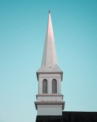architectural photography of a white minaret