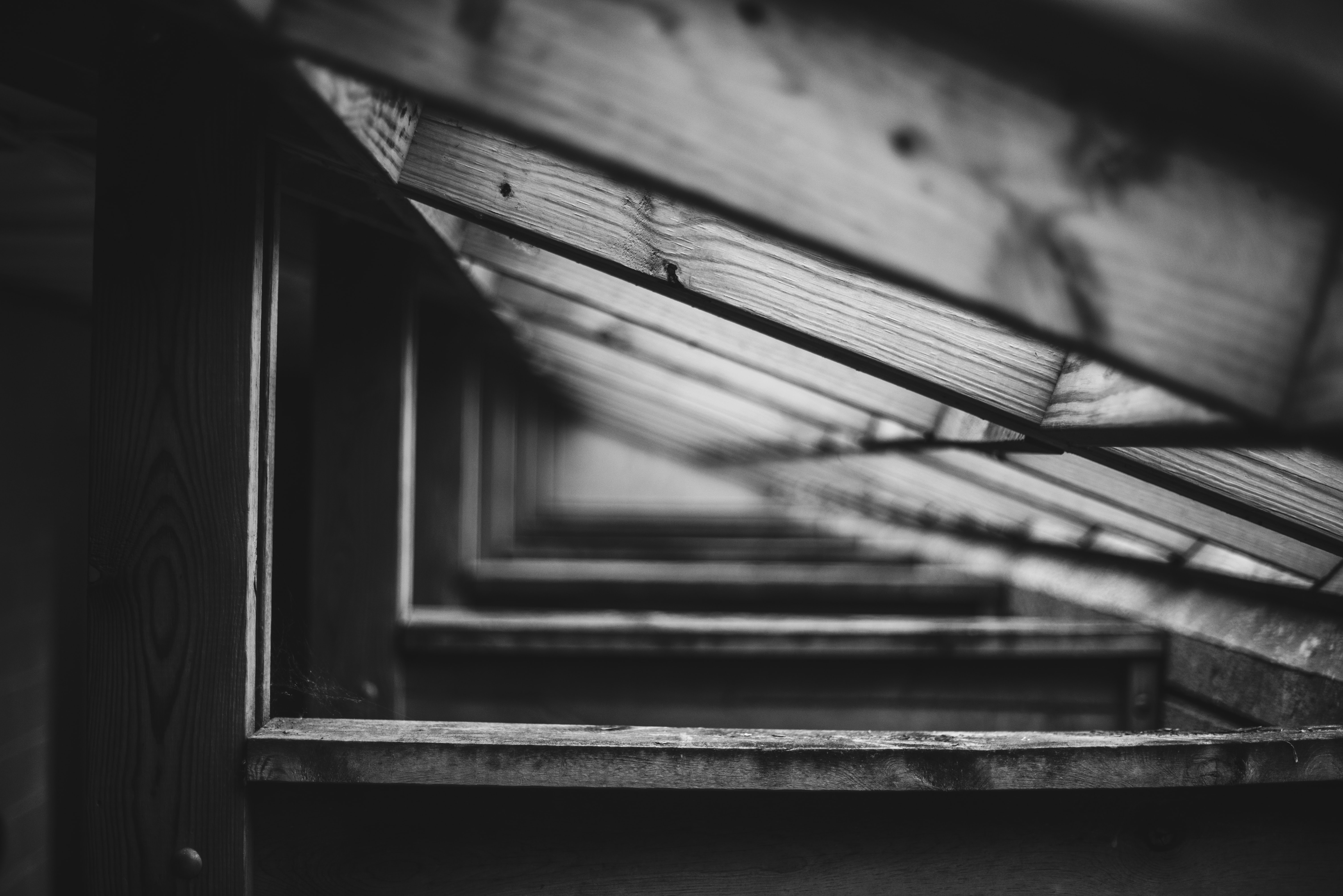 grayscale photo of wooden frame