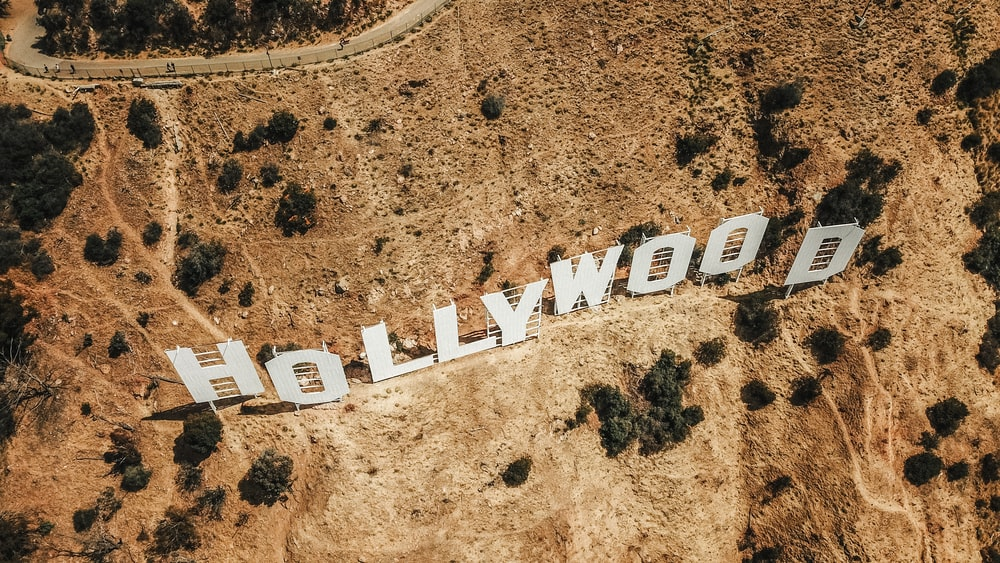 aerial photography of Hollywood sign
