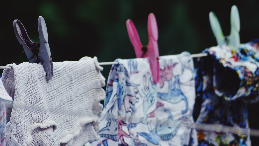 white and blue floral cloth