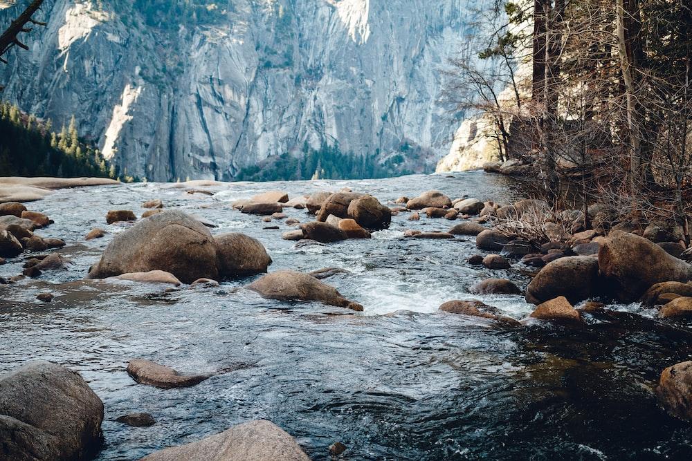 river towards mountain