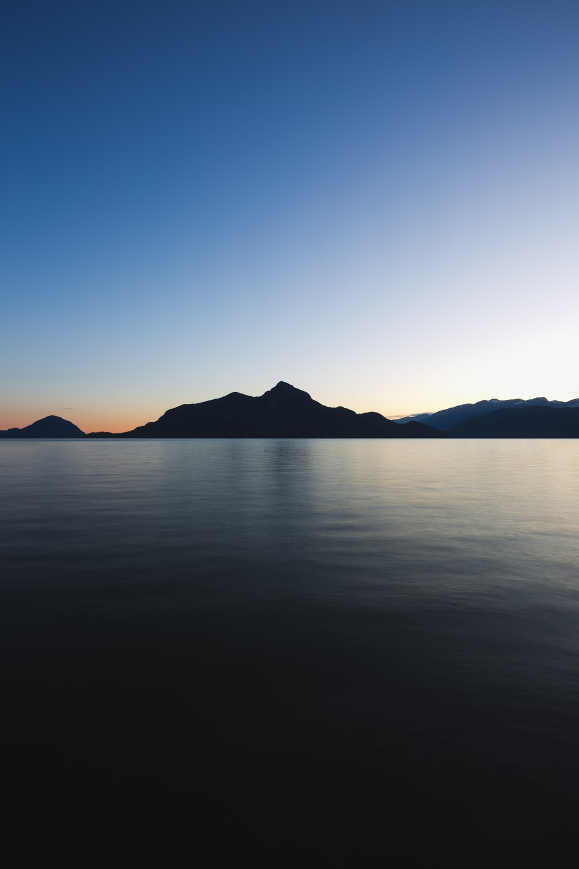 silhouette of mountain range during daytime