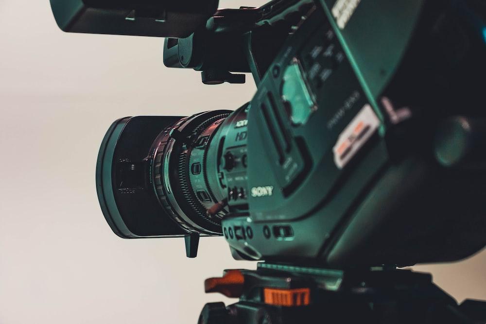 closeup photo of black Sony video camera