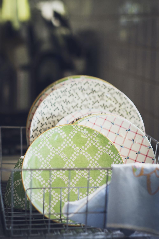 ceramic plates on rack