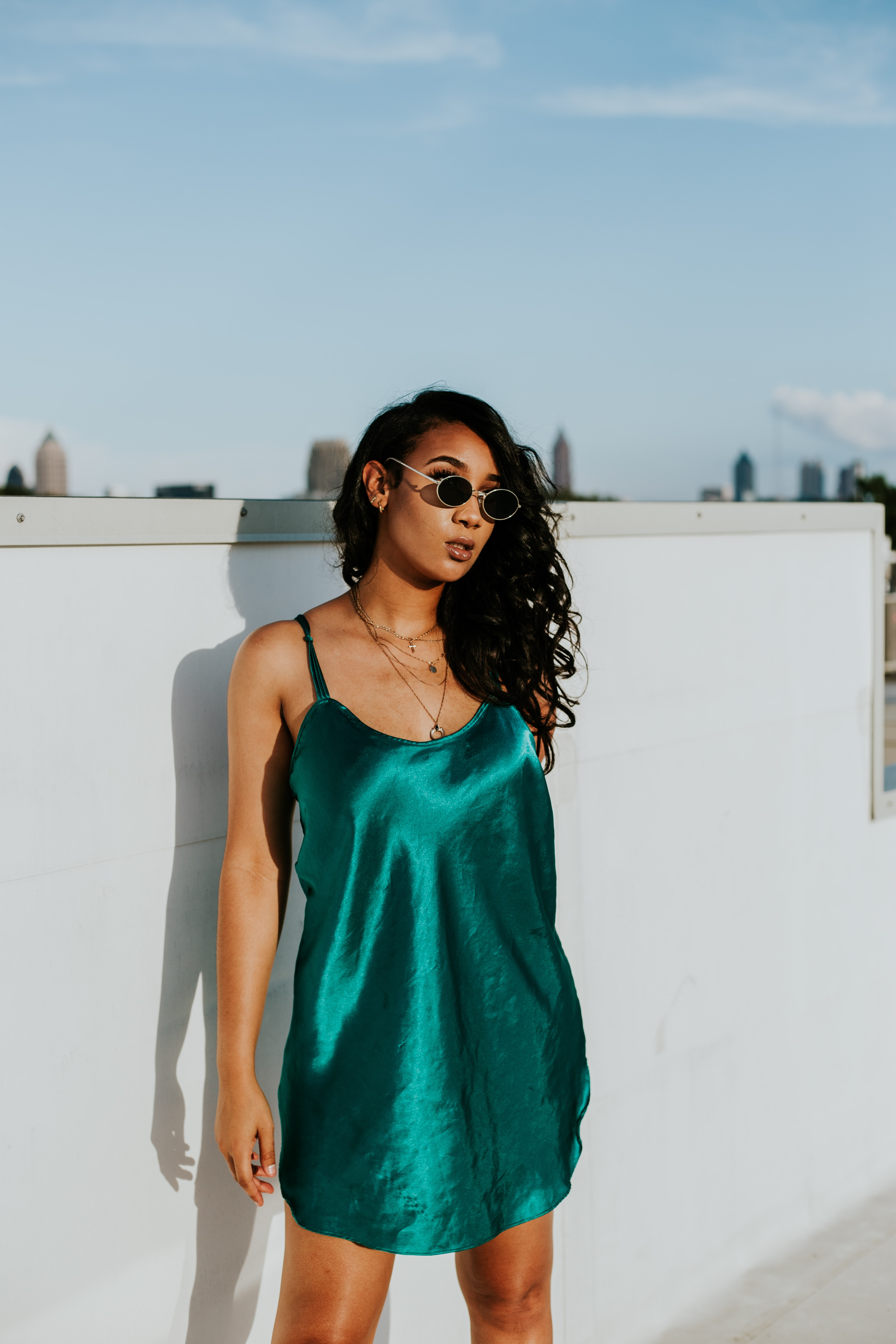 photography of woman in blue mini dress