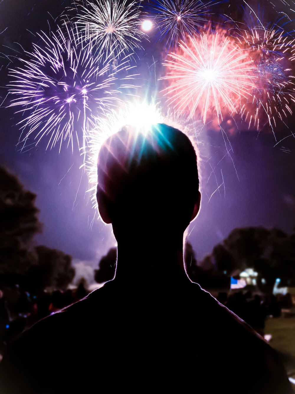person looking at fireworks display
