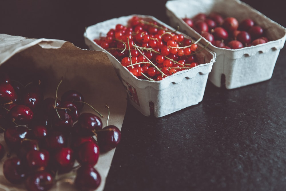 red cherries on cases