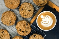 cooked cookies with coffee