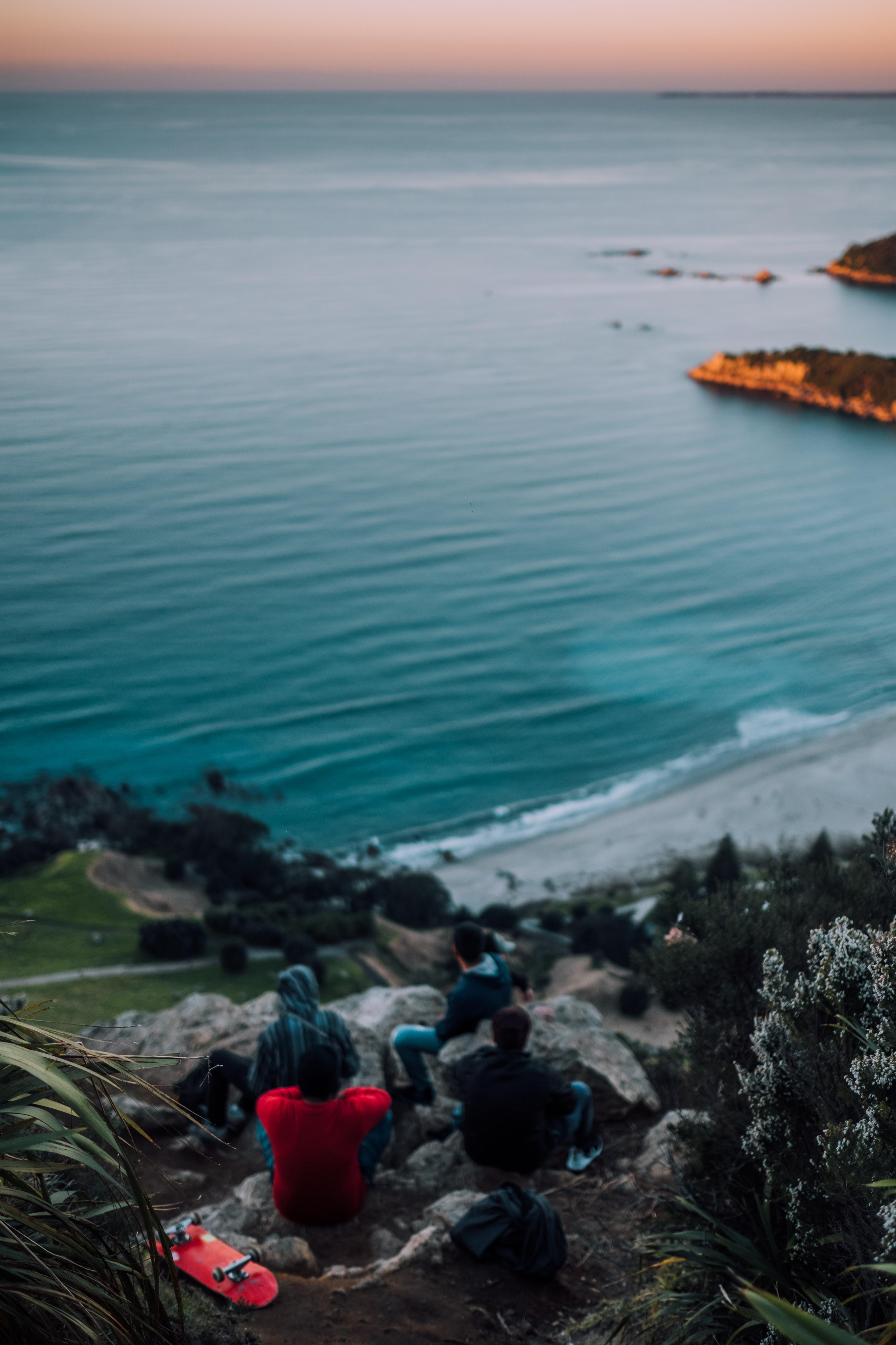 people overlooking sea