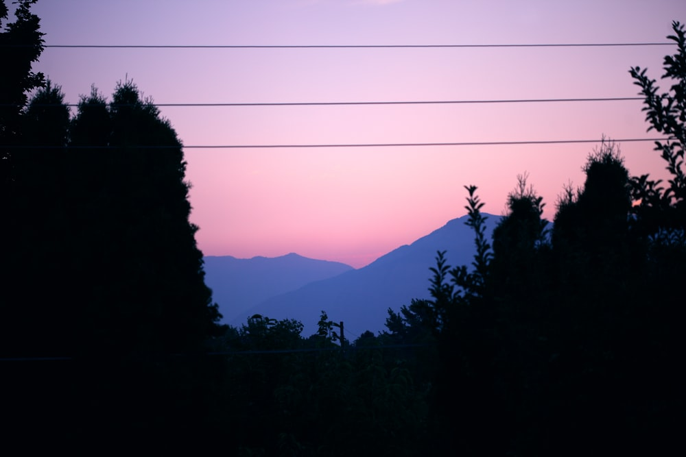 silhouette of trees and mountains at golden hour