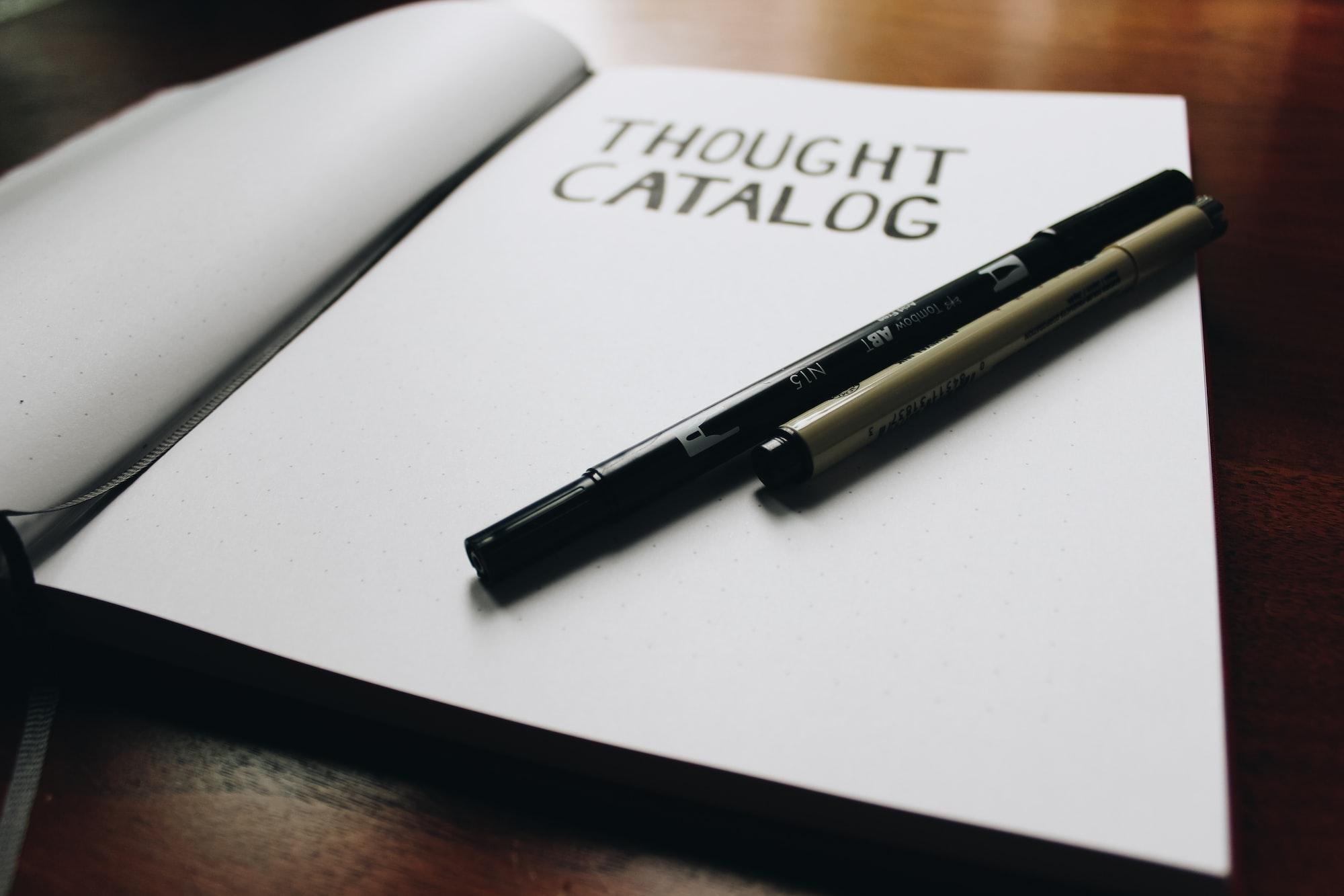 Thought Catalog hand written inside journal