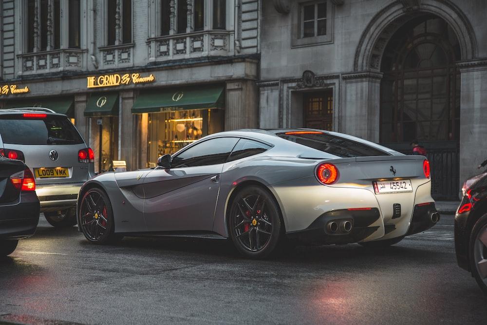 silver Ferrari super car