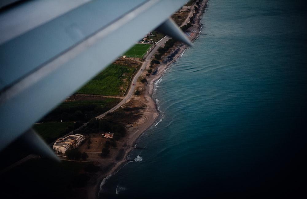 arial view of seashore