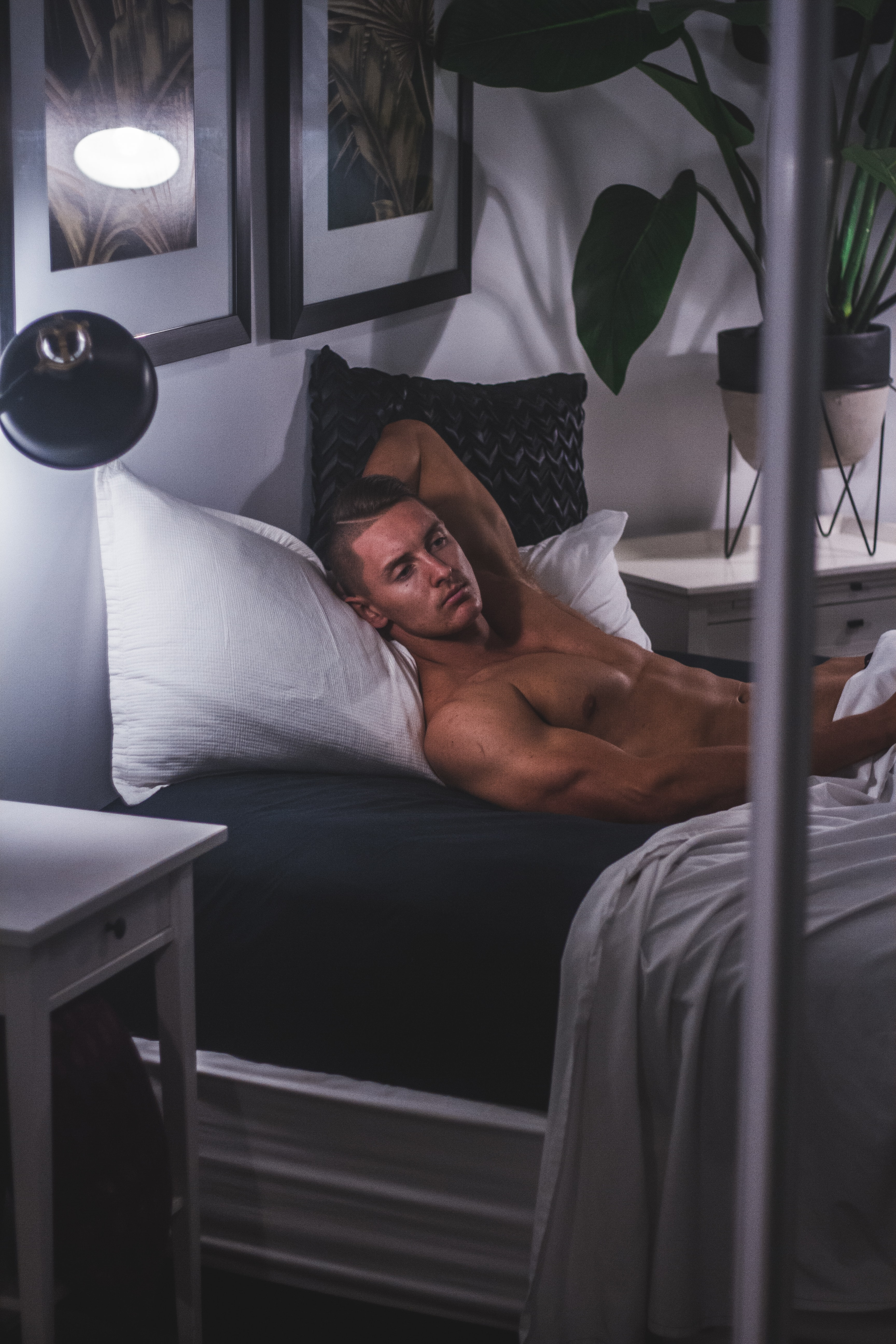 man laying on bed