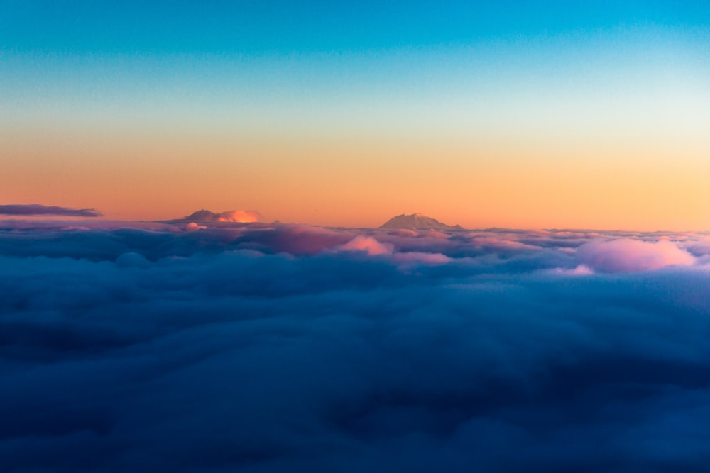 aerial view of sea of clouds