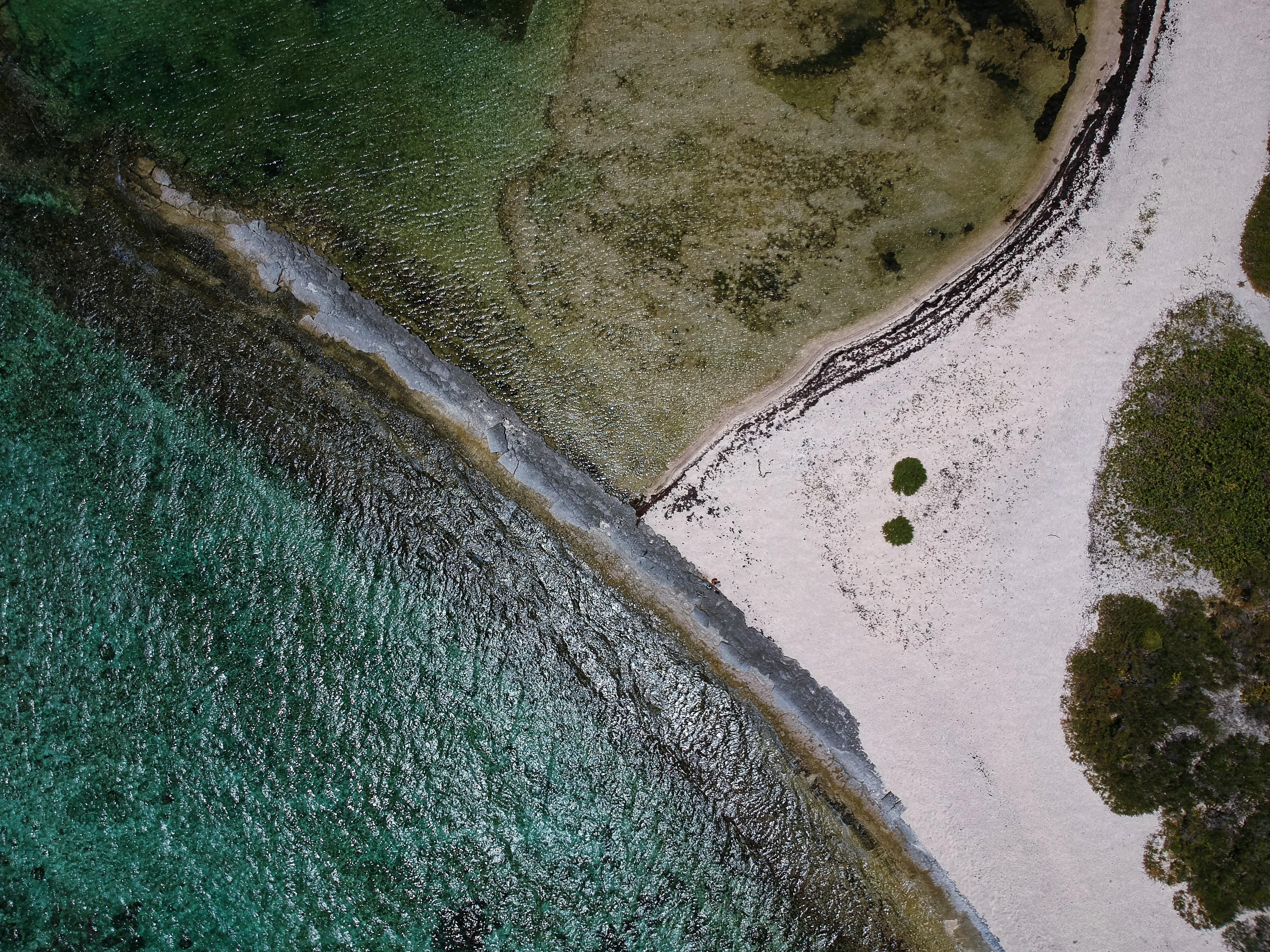bird's eye view photography of coast line